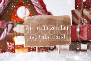 Gingerbread House With Sled, Snowflakes, Nikolaus Means Nicholas Day