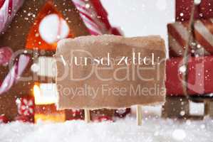 Gingerbread House With Sled, Snowflakes, Wunschzettel Means Wish List