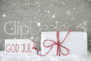 Gift, Cement Background With Snowflakes, God Jul Means Merry Christmas