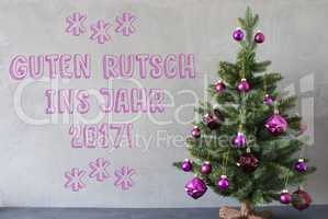 Christmas Tree, Cement Wall, Guten Rutsch 2017 Means New Year