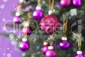 Blurry Christmas Tree With Rose Quartz Balls, Bokeh Effect