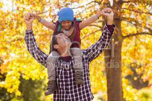 Father carrying son on shoulder at park