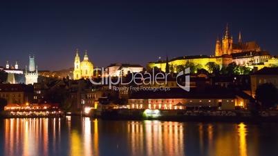 Evening in Prague on Vltava River. Time Lapse