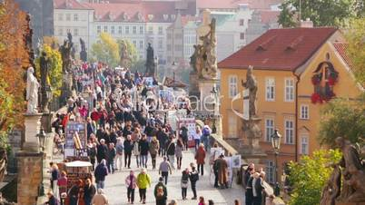 Tourists and Traders on the Charles Bridge. Fast motion