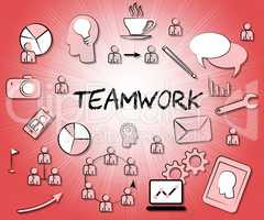 Teamwork Icons Means Teams Together And Organized