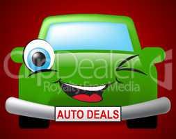 Auto Deals Indicates Bargain Car 3d Illustration