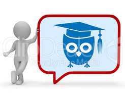 Wise Owl Means Smart Wisdom 3d Rendering