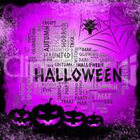 Halloween Words Represents Spooky Haunted And Ghost