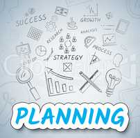 Planning Ideas Shows Objectives And Goals Icons