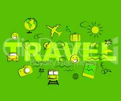 Travel Icons Represent Exploring Voyage Tours And Journeys