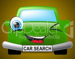 Car Search Indicates Vehicle Research And Comparison