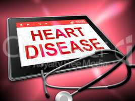 Heart Disease Tablet Indicates Online Cardio 3d Illustration