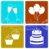Celebrate Icons Indicate Party Joy And Fun