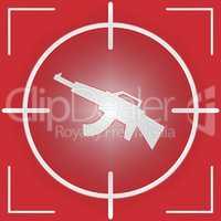 Machine Gun Sight Represents Combat And War
