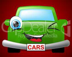 Cars Cartoon Represents Auto Transport And Vehicles
