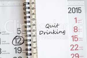 Quit drinking text concept