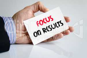 Focus on results text concept