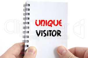 Unique visitor text concept