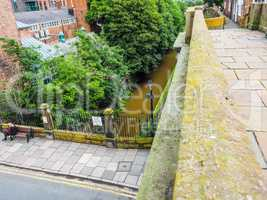 Roman city walls in Chester HDR