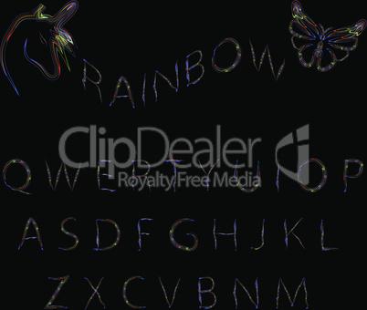 Rainbow neon alphabet.