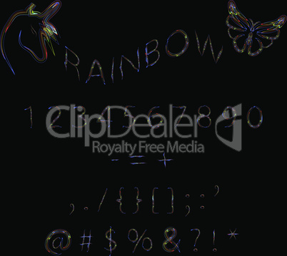 Rainbow neon numbers.
