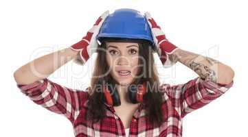 Aufgeregter Handwerker mit Bauhelm