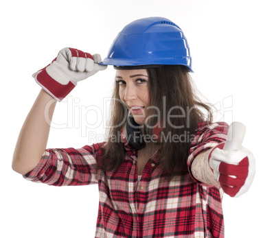 Weiblicher Handwerker zeigt Daumen hoch