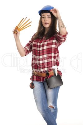 Weiblicher Handwerker mit Zollstock