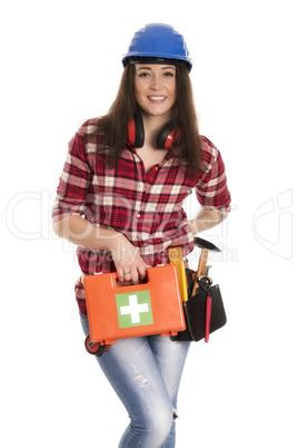Weiblicher Handwerker mit Notfall Koffer