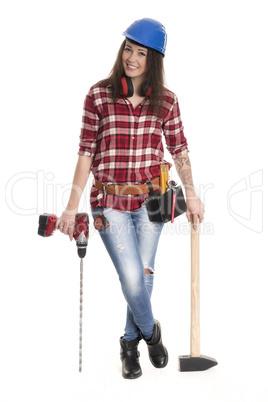 Bauarbeiter mit Bohrmaschine und Vorschlaghammer