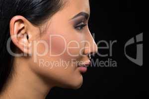 Brunette model woman in studio