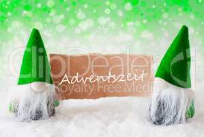 Green Natural Gnomes With Card, Adventszeit Means Advent Season