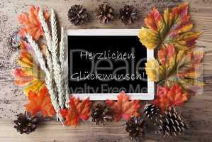 Chalkboard With Autumn Decoration, Glueckwunsch Means Congratulations