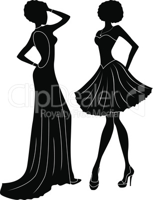 Abstract charming ladies silhouettes