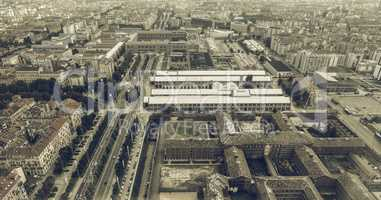Aerial view of Turin vintage desaturated