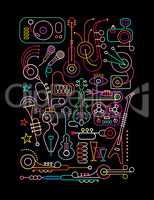 Abstract Art Neon Collage