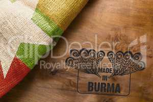 Wooden background stamp made in Burma