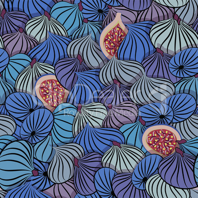 iFig vector. Seamless pattern with half and whole fruit.