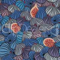 Fig vector. Seamless pattern with half and whole fruit.