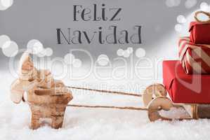 Reindeer With Sled, Silver Background, Feliz Navidad Means Merry Christmas