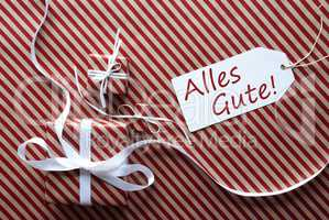 Two Gifts With Label, Alles Gute Means Best Wishes