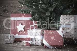 Nostalgic Christmas Tree With Gifts And Presents