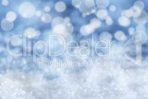 Blue Christmas Background With Snow And Bokeh