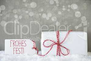 Gift, Cement Background With Bokeh, Frohes Fest Means Merry Christmas