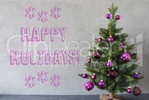 Christmas Tree, Cement Wall, Text Happy Holidays