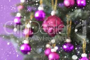 Blurry Christmas Tree With Rose Quartz Balls And Snowflakes