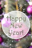 Blurry Vertical Rose Quartz Balls, Text Happy New Year