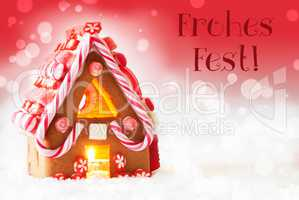Gingerbread House, Red Background, Text Frohes Fest Means Merry Christmas