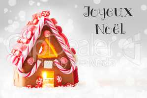 Gingerbread House, Silver Background, Joyeux Noel Means Merry Christmas
