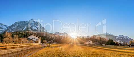 Mountain village at the foot of the Austrian Alps